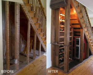 Under the Stairs Wine Cellar by Fair & Square Carpentry